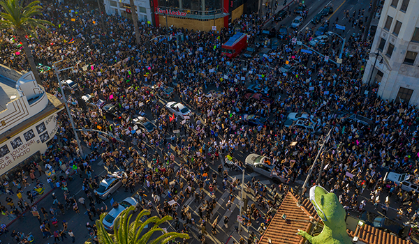Thousands of Black Lives Matter protesters congregate at Los Angeles' Hollywood and Highland intersection on June 7, 2020.