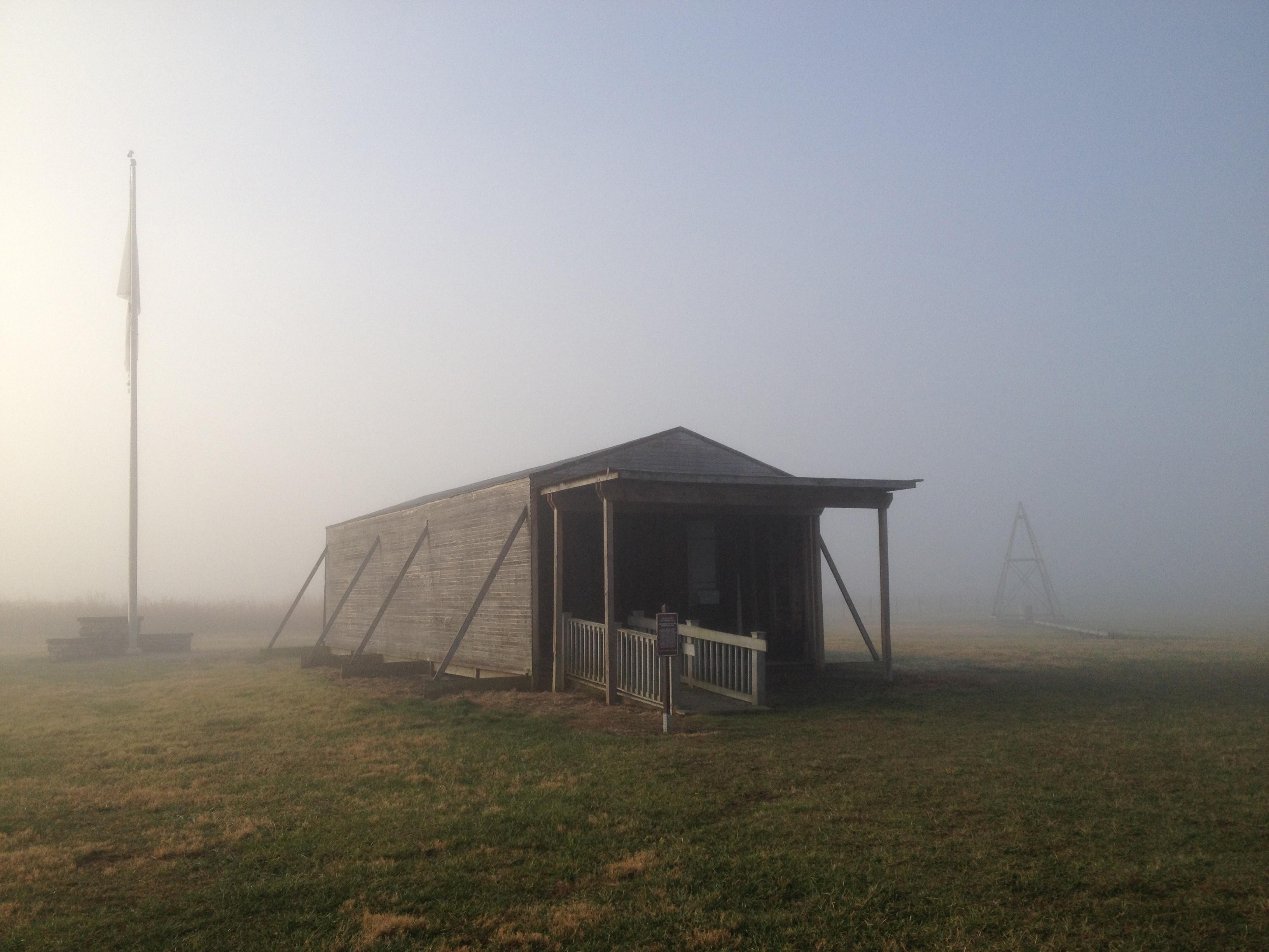 At Huffman Prairie Flying Field, walk inside a replica of the Wright brothers' hangar.