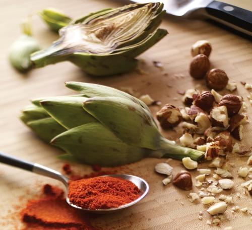 Artichoke, paprika and hazelnut.