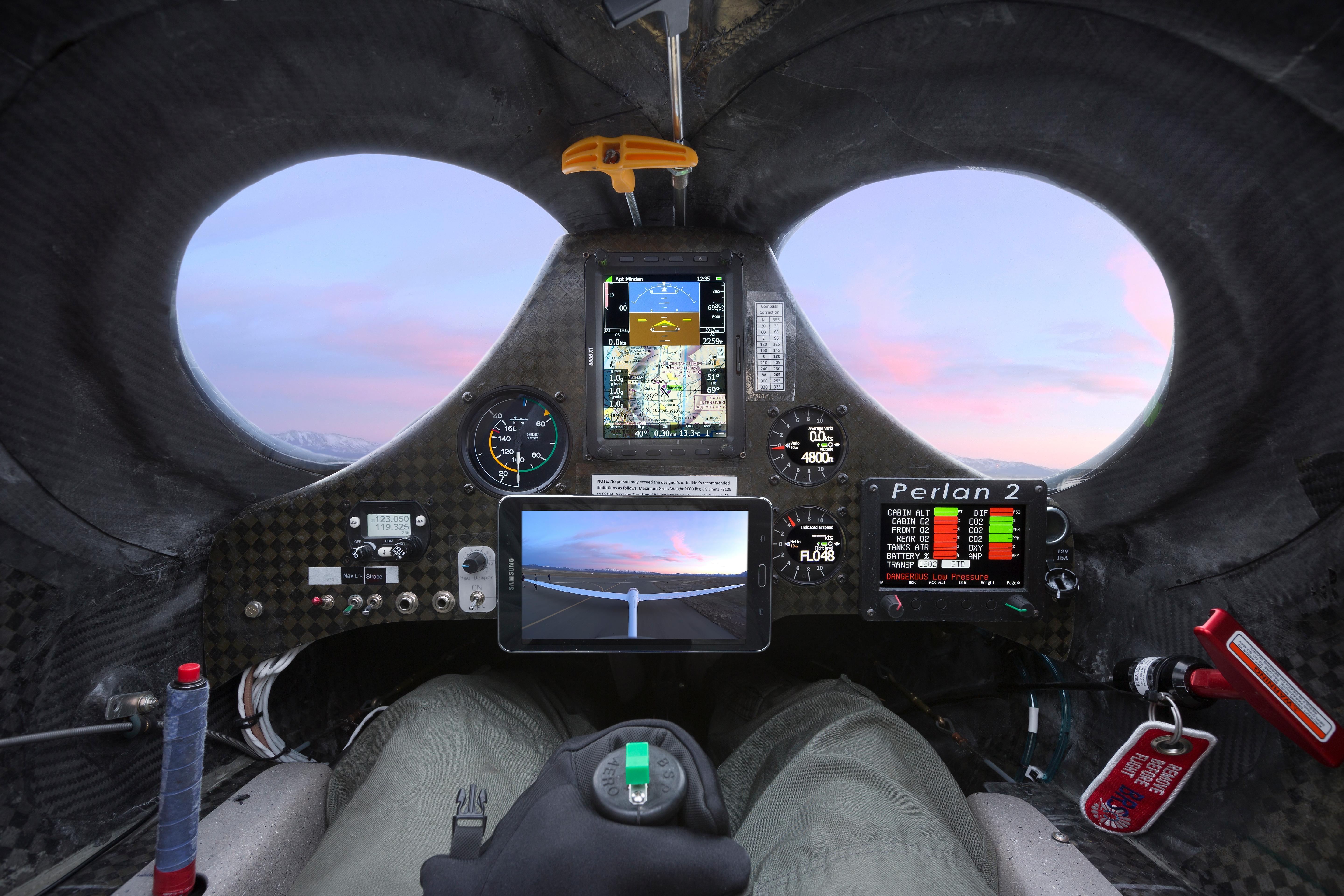 Perlan 2's austere forward cockpit