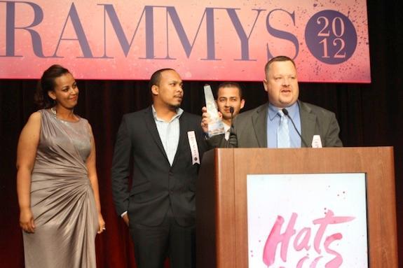 Hetzler accepting the Rammy award