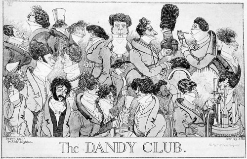 Dandies at Watier's gambling club, wearing the exaggerated fashions of c.1817.