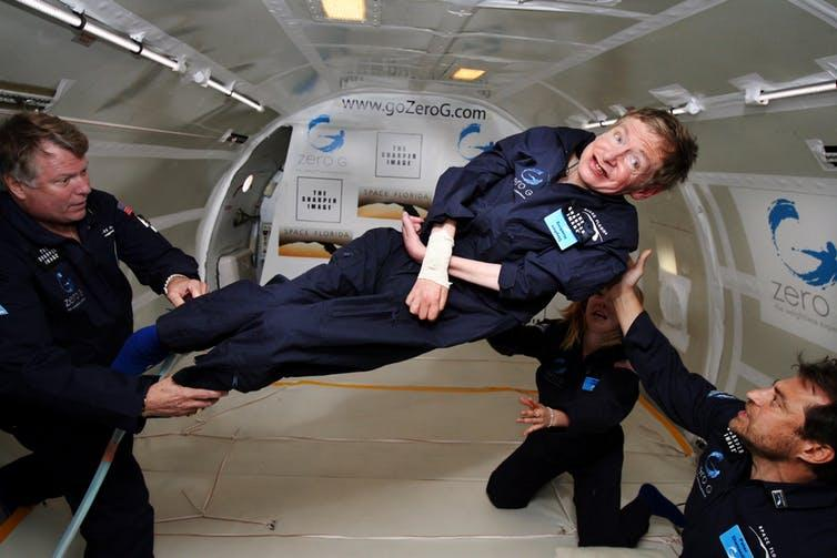 Hawking in zero gravity