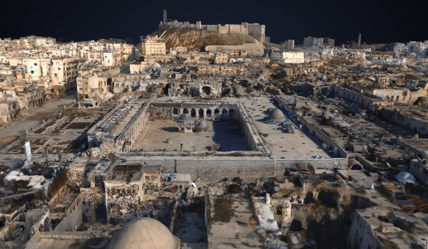 The exhibition presents the possibility that 3-D models (above: a digital rendering of Aleppo following the 2012 civil war in Syria), and the information extracted from them can be used for future restoration projects.