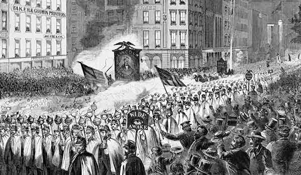 America's public, partisan and passionate campaigns fired up uniformed young men who participated in torchlit marches, a style pioneered by the Republican Wide Awakes stumping for Abraham Lincoln in 1860 (above: a procession stomped through Lower Manhattan's Printing House Square).