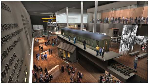 As depicted in this rendering of the museum interior'