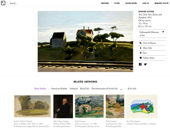 For a given work of art, the site can retrieve other works that express similar traits.
