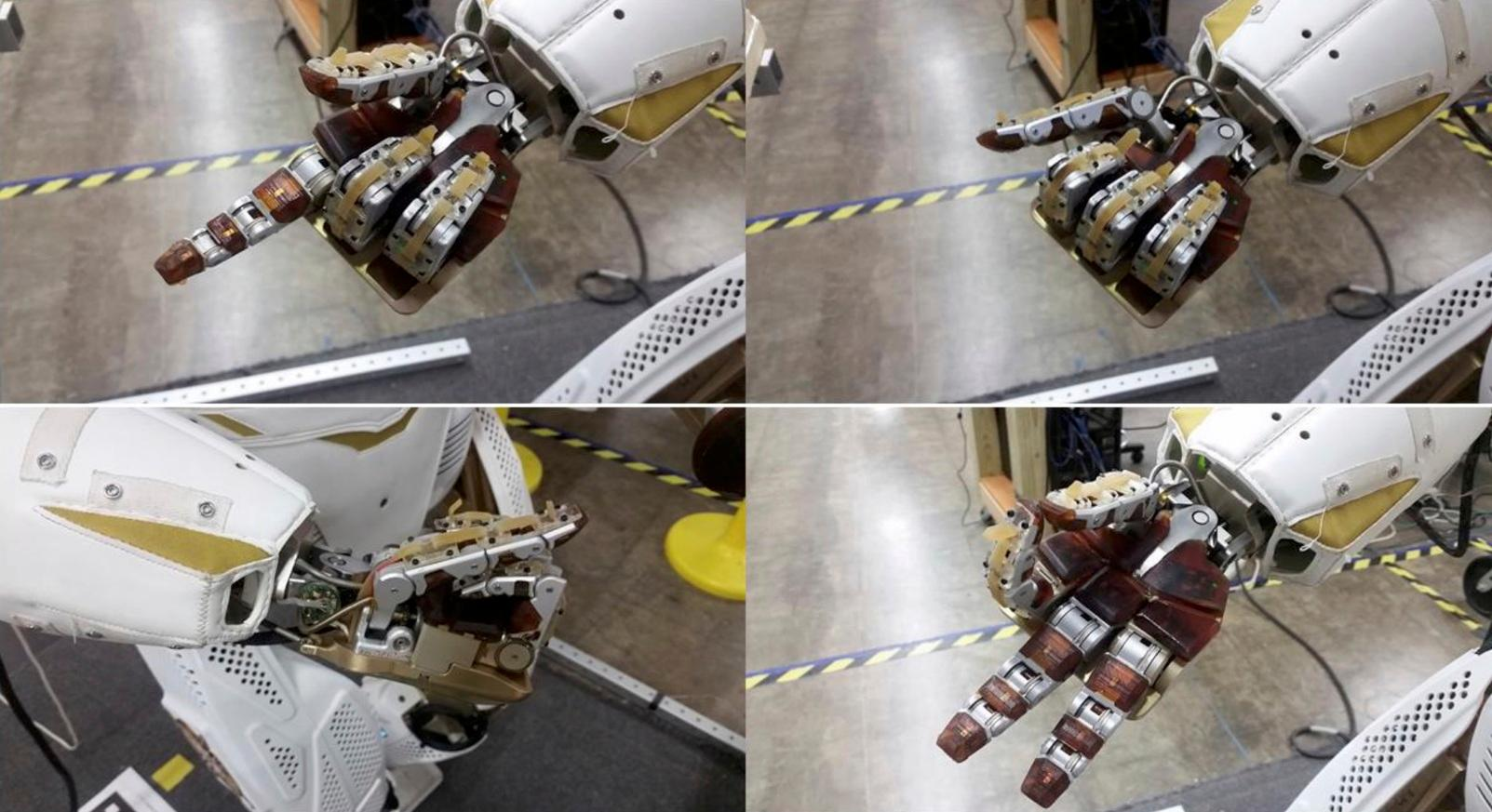 Different types of hands on a NASA Valkyrie robot.