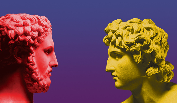 Photo illustration of Philip II of Macedon, left, and his son Alexander the Great. Sculptures are first-century Roman copies of Greek originals.