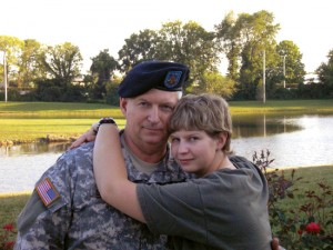 Seaman Recruit Hannah Sewell, US Navy, and her father Sergeant Major Jerry Sewell