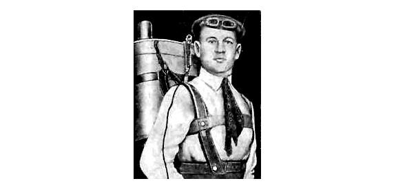Actor-turned-inventor Gelb Kotelnikov, wearing his RK-1 knapsack parachute