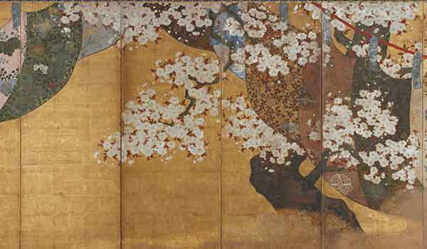 Wind-screen and cherry tree, unknown artist, (detail) Edo period, 1615-1868