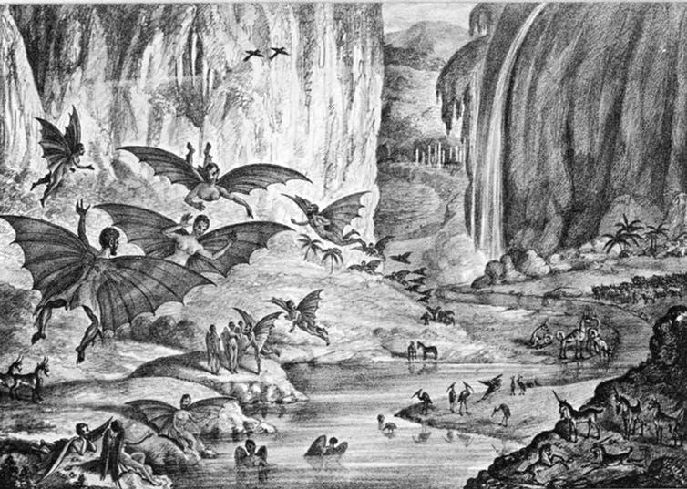 During the 'Great Moon Hoax,' the New York Sun claimed to have discovered a colony of creatures on the moon.