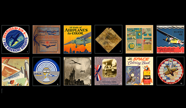 1) Pan American Airways baggage label, c. 1937; 2) French airplane brochure, c. 1910; 3) Coloring book, 1930; 4) Airline brochure, 1941; 5) Pan Am foreign currency converter, 1957; 6) Program from the 1910 Belmont Park air meet; 7) Entrance badge, Wright Military Flyer trials, 1909; 8) 1945 comic; 9) West Coast Air Transport timetable, c. 1928; 10) Menu from a 1927 dinner in Charles Lindbergh's honor; 11) Coloring book, early 1960s; 12) Aircraft recognition dial, 1942.