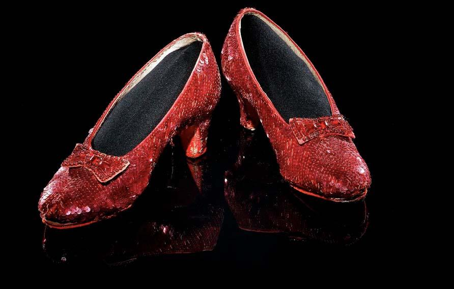 Judy Garland's ruby slippers for the character of Dorothy in The Wizard of Oz, 1939