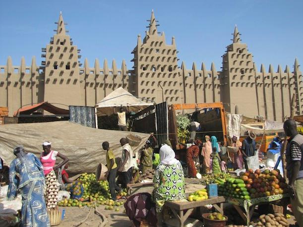 Malians gather in front of the Great Mosque for a regional market every Monday.