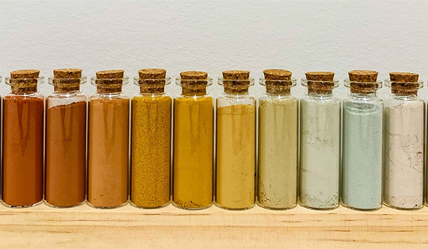 Soil samples collected throughout the western United States show the wide variety of minerals and colors belowground.