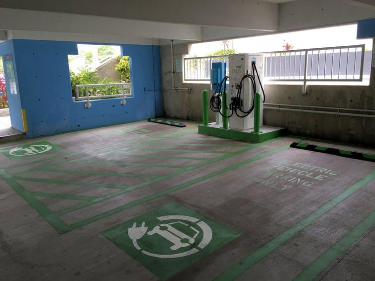 Electric car charging station in a Miami, Fla., garage.