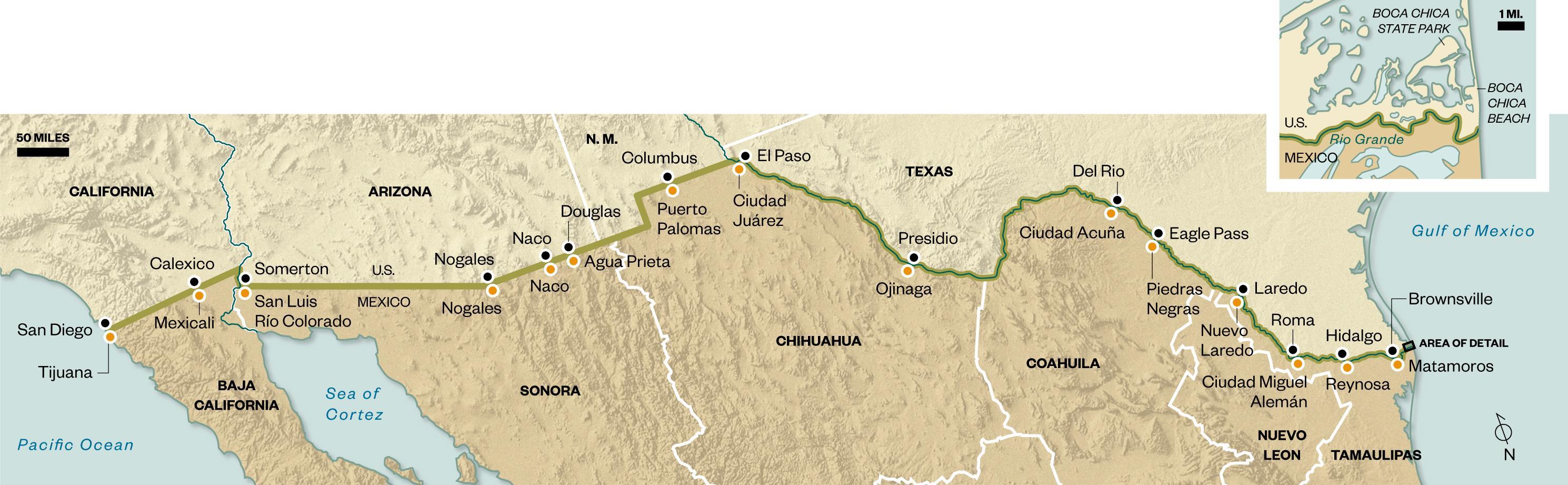 U.S.-Mexico border map