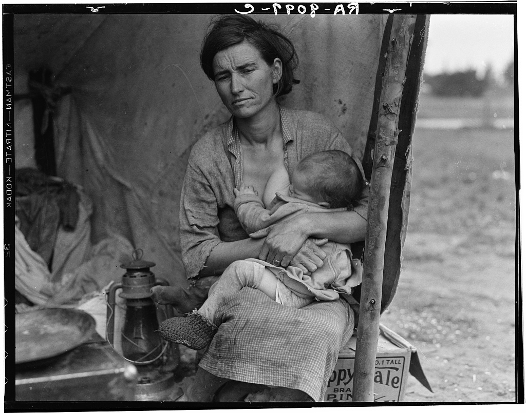 Dorothea Lange, Migrant agricultural worker's family. Seven hungry children. Mother aged thirty-two. Father is native Californian. Nipomo, California