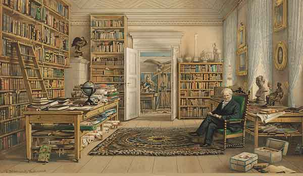 In the U.S., although Humboldt's name has vanished, his ideas have not (above: Humboldt in His Library (detail) by Eduard Hildebrandt, 1856).