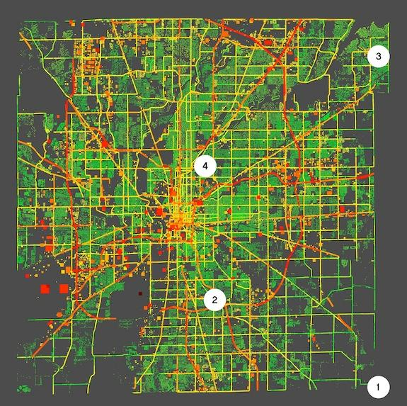 A map of Indianapolis' greenhouse gas emissions, as collected from a variety of sources.