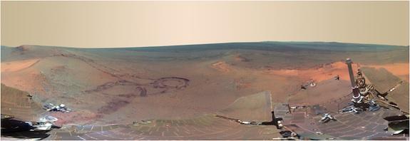 This panoramic image of Mars