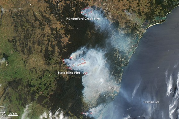 Fires, outlined in red, as of Monday