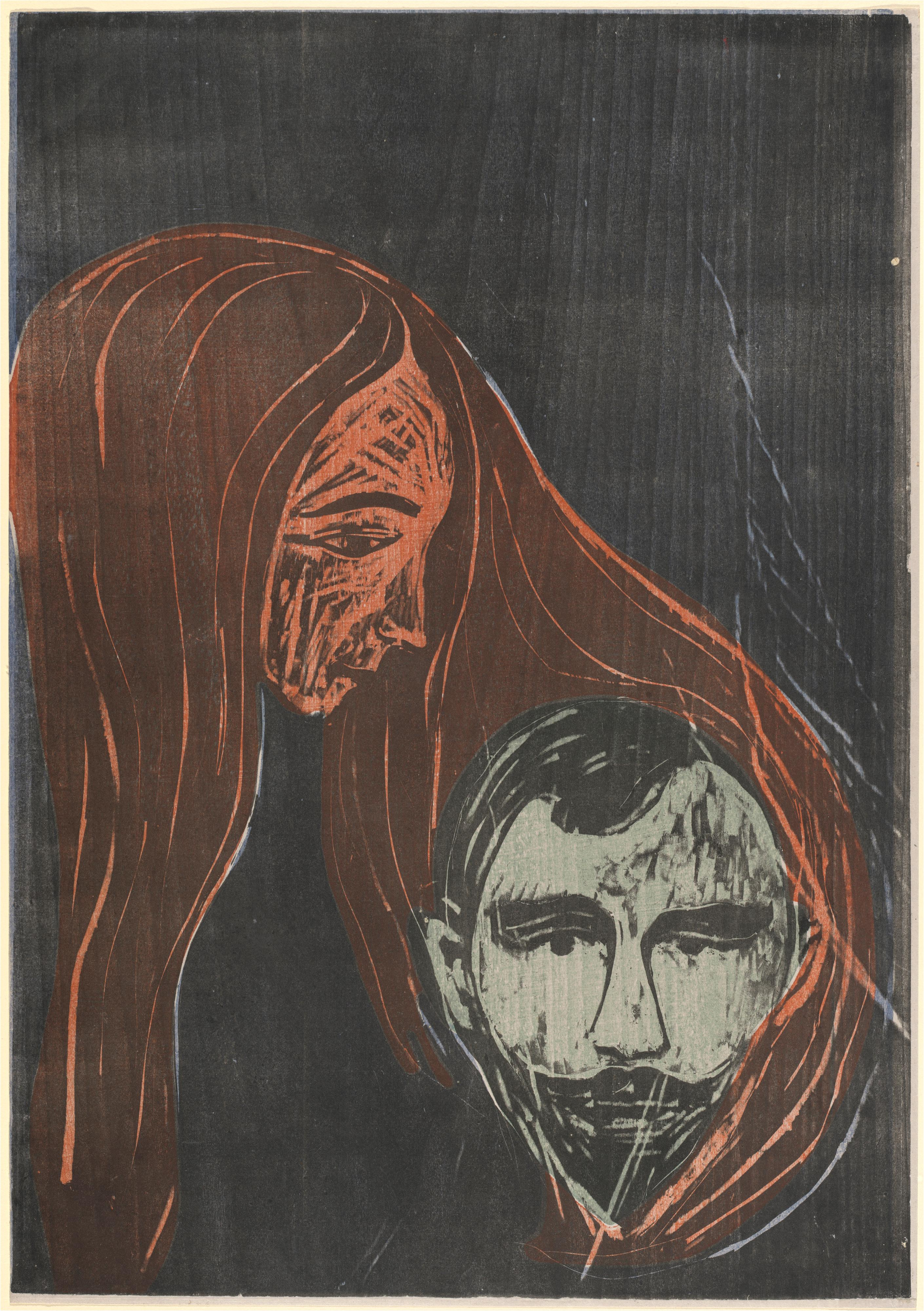 Man's Head in Woman's Hair