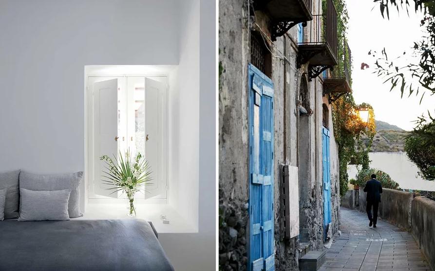 From left: A guest room at Capofaro Locanda & Malvasia, a hotel on Salina; near the port of Malfa, on Salina.