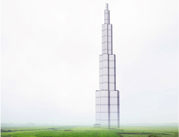 A rendering of the Sky City modular high-rise by Broad Sustainable Building.