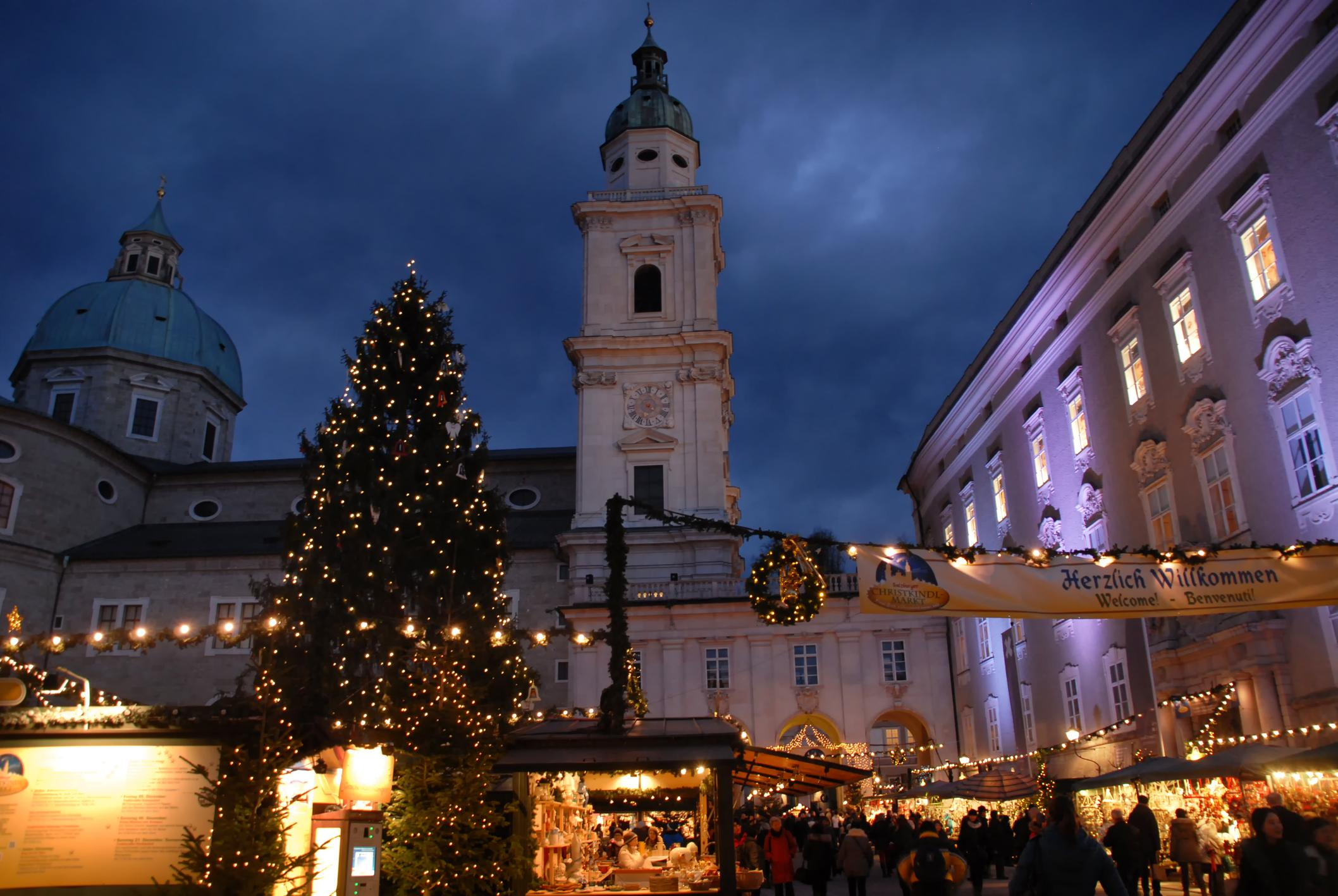 Christmas market in front of Salzburg Cathedral