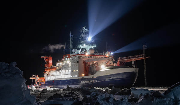 """Theresearch vessel in December, two months after mooring to an ice floe nicknamed """"the Fortress."""""""