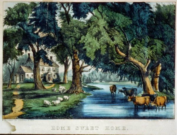 """A Currier & Ives print called """"Home Sweet Home"""""""