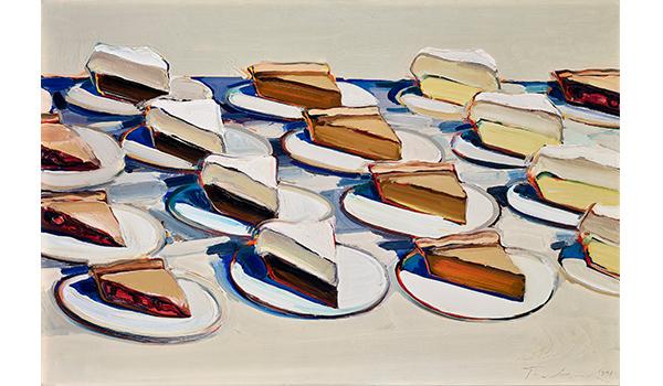 Wayne Thiebaud, Pies, Pies, Pies, 1961. Oil on canvas.