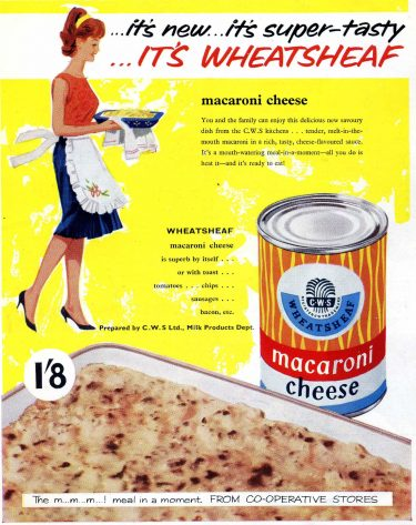 """Advertisement from the 1950s for Wheatsheaf brand tinned """"macaroni cheese."""""""