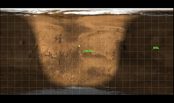 Mars24′s sunclock, showing which areas of Mars are light and dark.