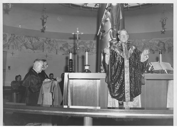 Dedication of Our Lady of the Airways Chapel, in its first location at Logan airport, in Boston