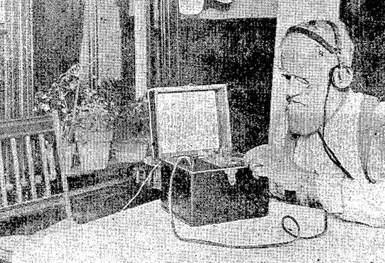 A man listening to the radio transmission of an opera