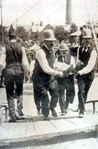 Rescuers at the scene of the greatest maritime disaster in American peacetime history.