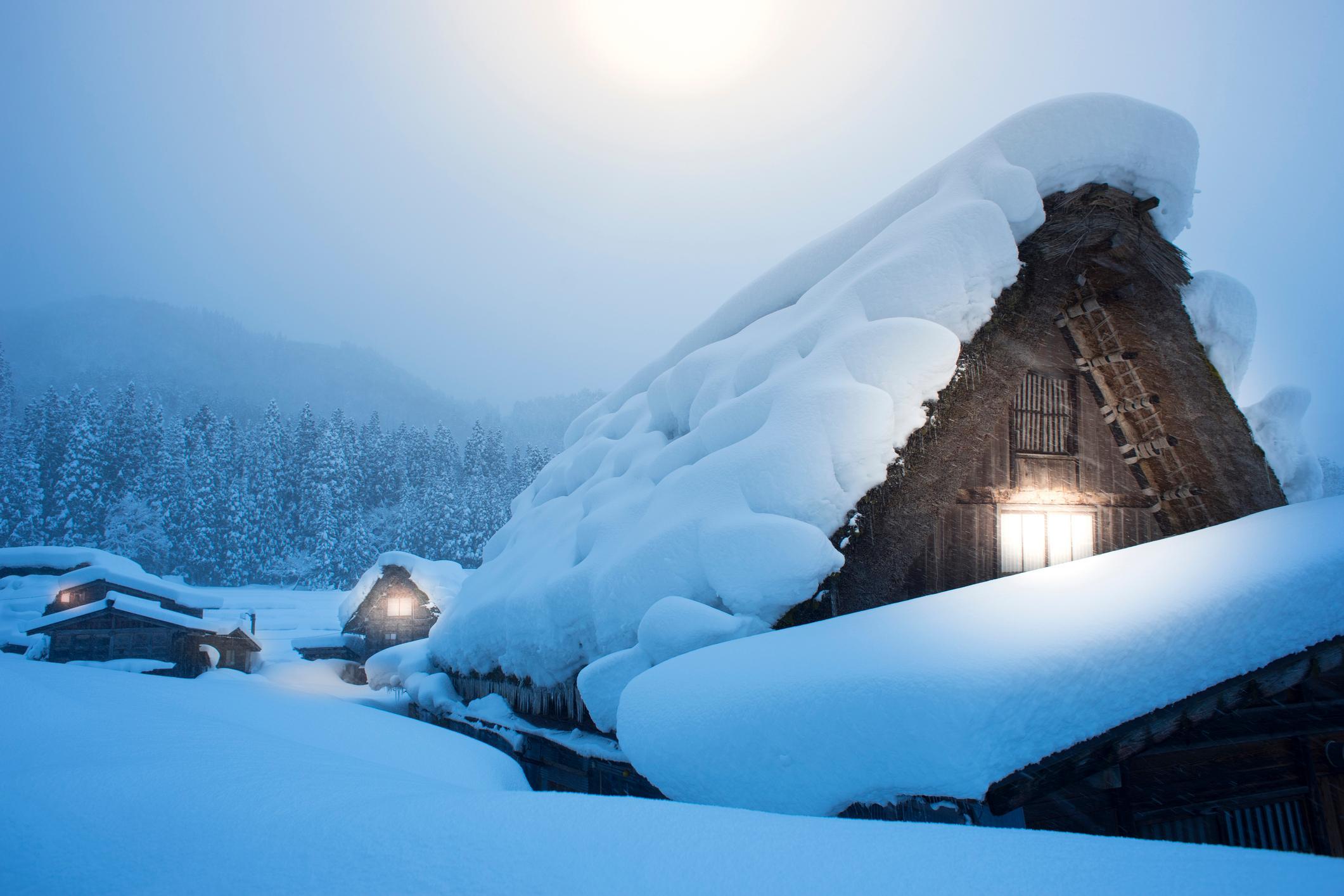 Shirakawago with heavy snowfall