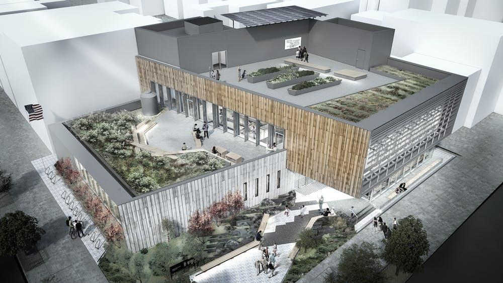 A rendering of the Greenpoint Library and Environmental Education Center in Brooklyn, N.Y.