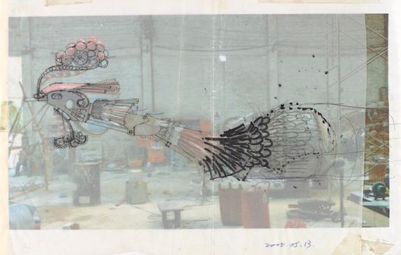 Preparatory drawing of Xu Bing's Phoenix Project.