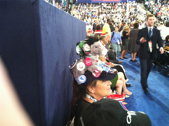 One of the many funny hats spotted at the DNC