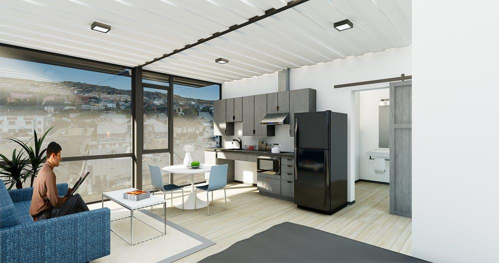 A rendering of the interior of a unit in the Hope on Alvarado Housing Project in Los Angeles, Calif.