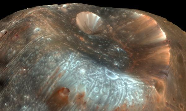 Phobos as viewed (in false color) by NASA's HiRISE camera in 2008.