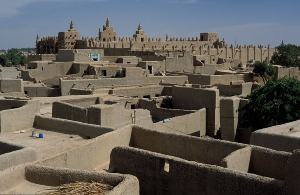 Overlooking the rooftops of Djenné, Mali.