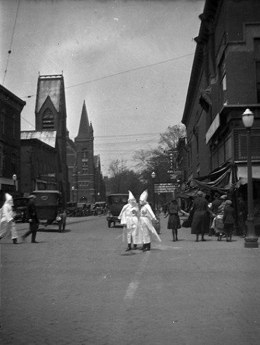 KKK members on Franklin Street in Valparaiso, Indiana, circa 1923