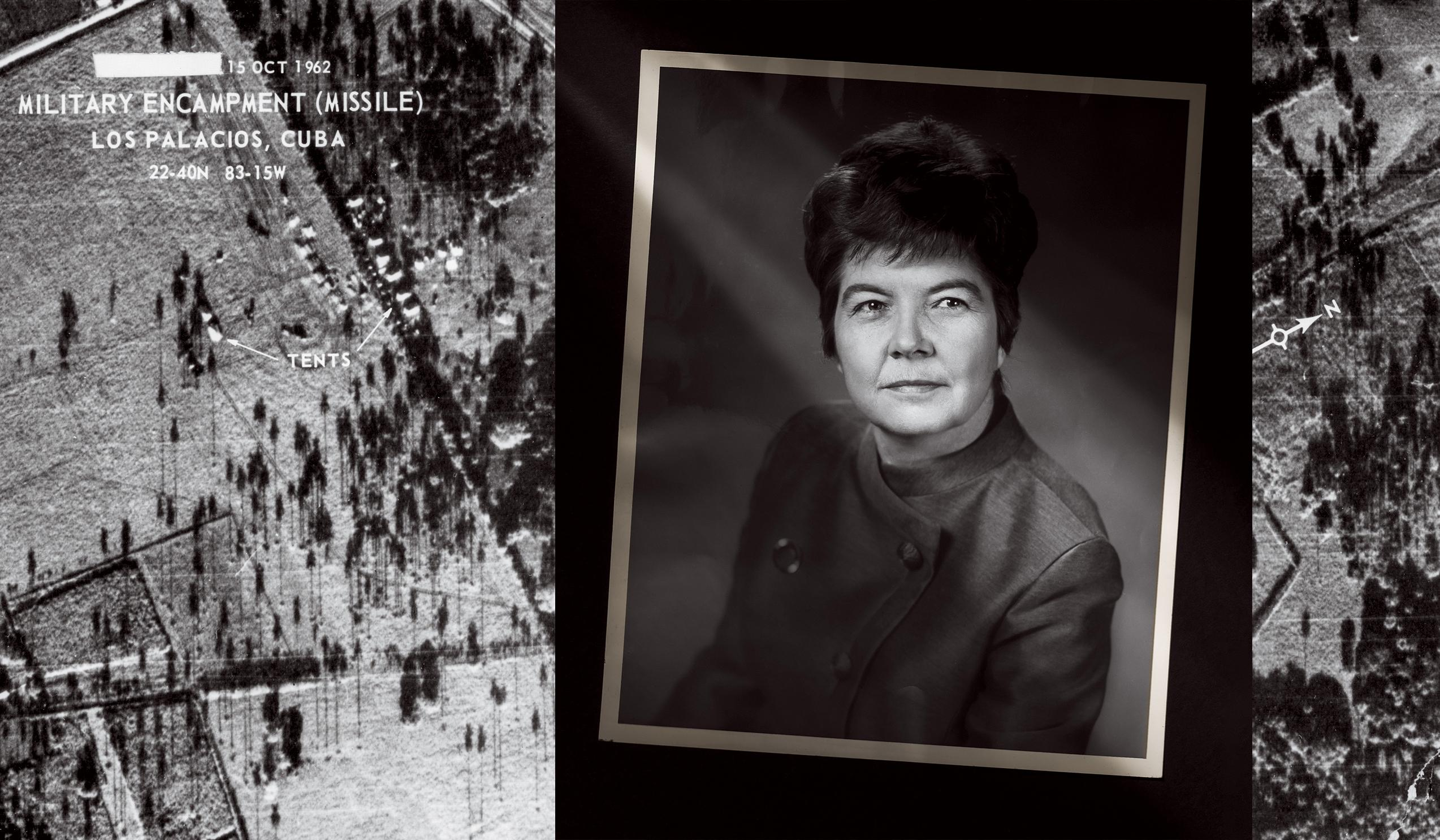 In the background, a photograph taken by an American U-2 spy plane over Cuba on October 14, 1962, shows a secret deployment of Soviet nuclear-armed ballistic missiles. Right, Juanita Moody, head of the National Security Agency's Cuba desk.
