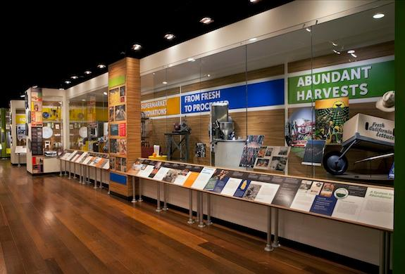 A series of display cases attempts to tell the story of our plates, from harvest to table.